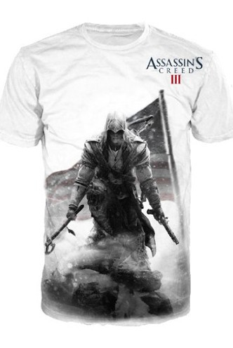 Official T Shirt ASSASSINS CREED III 3 Connor WHITE DEATH