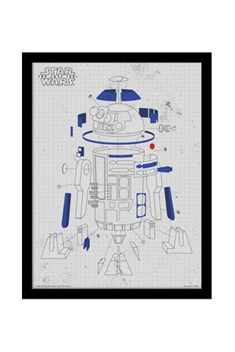 Star Wars - Episode VIII Póster Enmarcado R2-D2 Exploded View