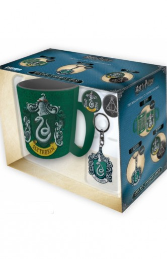 Harry Potter - Set Taza + Llavero + Chapa Slytherin
