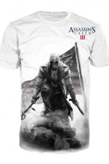 "Camiseta - Assassin´s Creed III - Connor ""Bandera"" BLANCA"