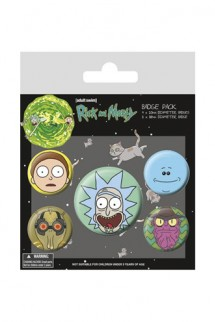 Rick & Morty - Pack 5 Chapas Heads