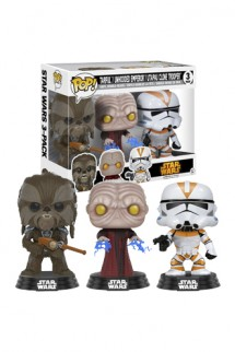 Pop! Star Wars: Tarfful, Unhooded Emperor, Clone Trooper Exclusivo