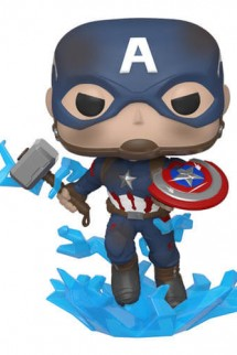 Pop! Marvel: Avengers Endgame-Captain America w/Broken Shield & Mjölnir